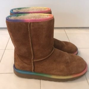Brown UGG boots with rainbow trim